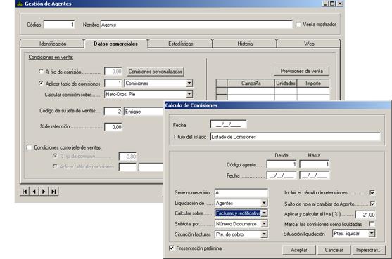 Software ERP Gextor Gestión Comercial, gestión agentes comerciales
