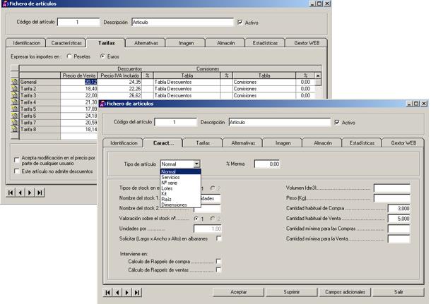 Software ERP Gextor Gestión Comercial, gestión artículos